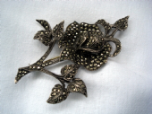Late 1940's - Early 1950's Silver and Marcasite Rose Brooch (SOLD)